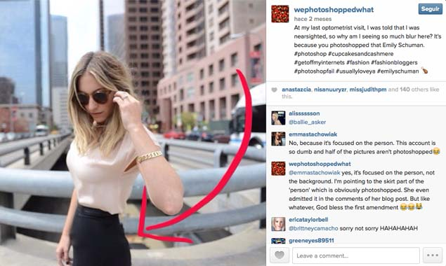 Errores de Photoshop en Instagram