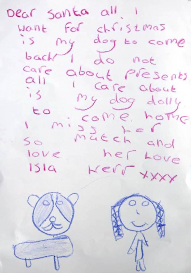 Niña pide Papa Noel que vuelva su perro