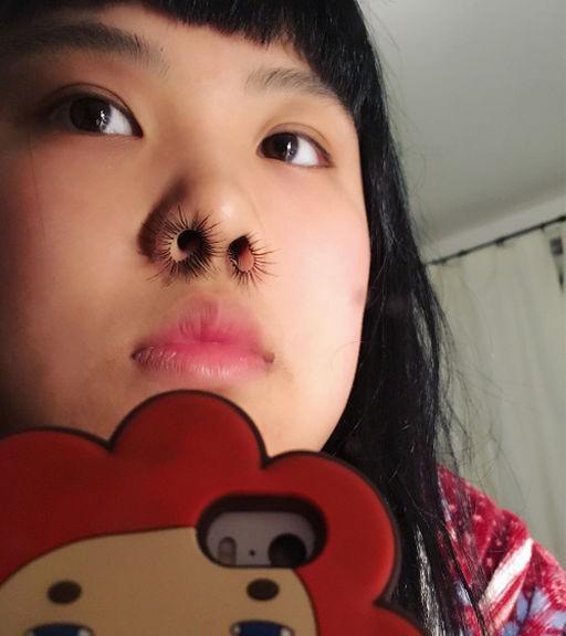Pestañas postizas en la nariz