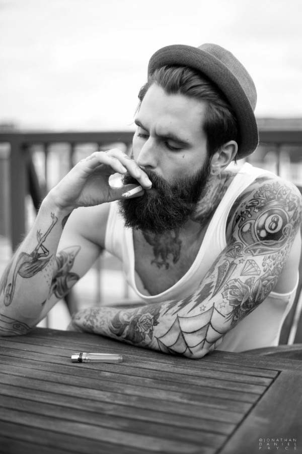 Beard and Tattoo Ricki Hall Male Model