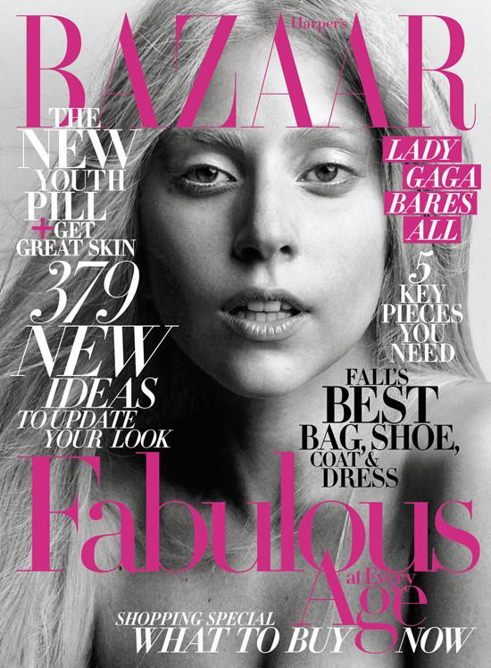 Lady Gaga, prácticamente sin maquillaje, en la portada de Harper's Bazaar