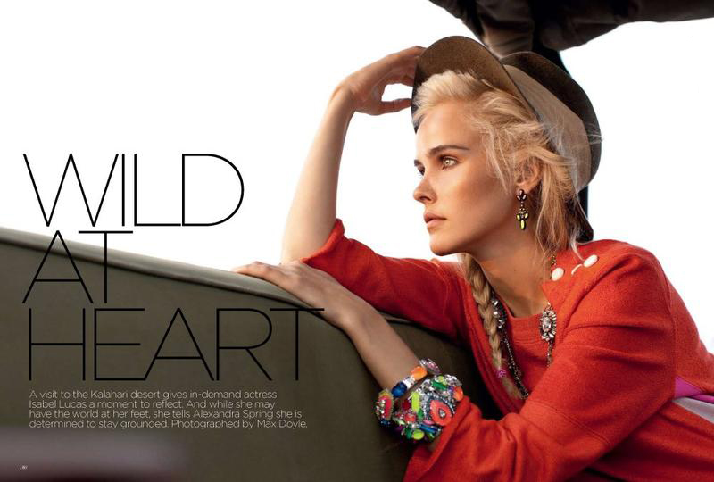 Wild At Heart, editorial de Vogue Australia con Isabel Lucas como modelo