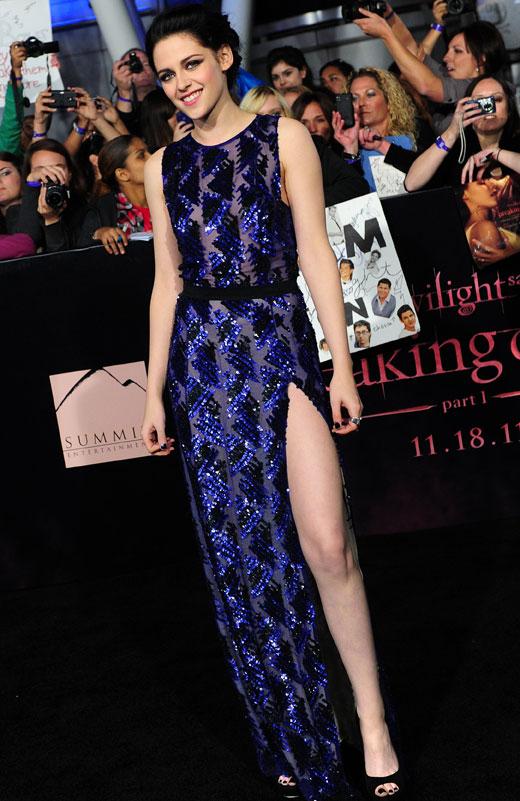 Kristen Stewart de J. Mendel en la premiere de Amanecer