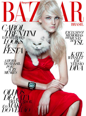 El gato como complemento invernal según Harper's Bazaar Brasil
