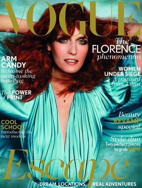 Florence Welch en la portada de enero de Vogue 2012
