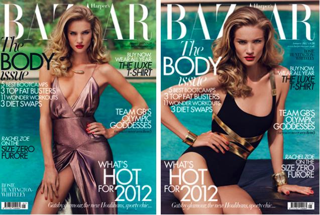 Dos portadas de Harper's Bazaar con Rosie Huntington Whiteley