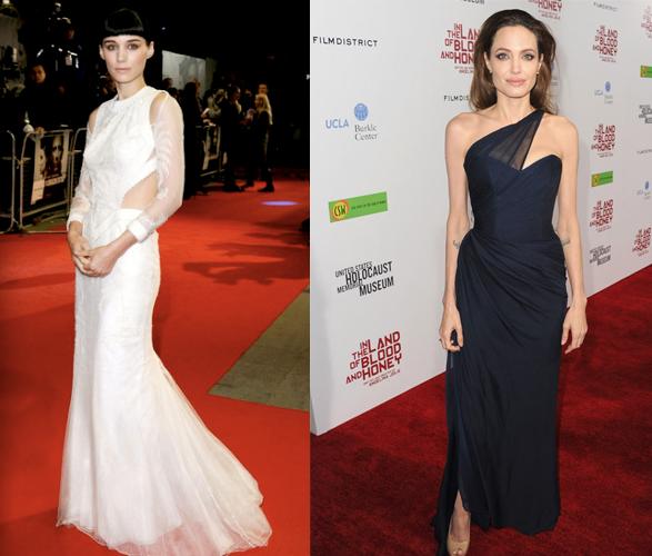 Looks de estreno contrapuestos: Rooney Mara y Angelina Jolie