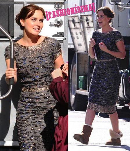 Leighton Meester de Oscar de la Renta Pre-Fall 2011 en el set de Gossip Girl