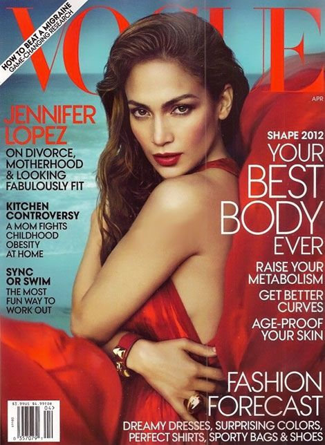 Jennifer Lopez en la portada de abril de Vogue USA