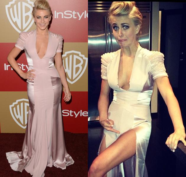 Y a Julianne Hough se le rompió su vestido en la fiesta de los Globos de Oro