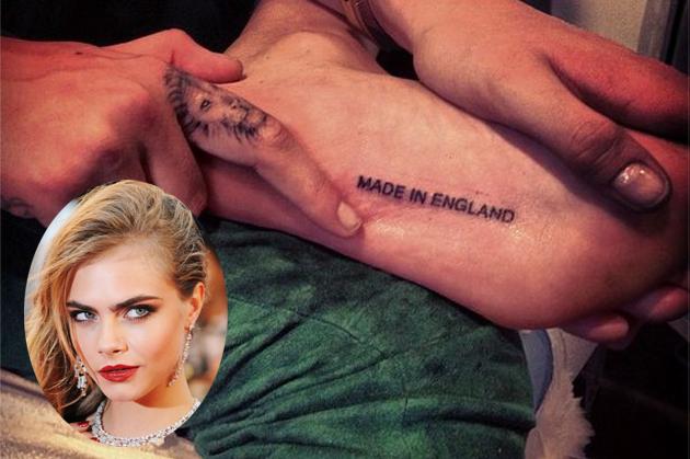 Cara Delevingne y su nuevo tatuaje Made in England
