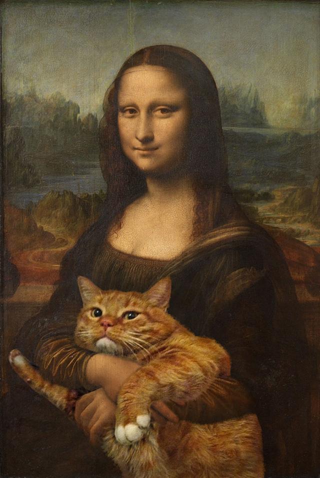 Una artista rusa pinta a su gato en cuadros famosos