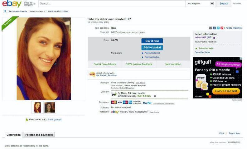 ¡Subasta a su hermana en Ebay para encontrarle novio!