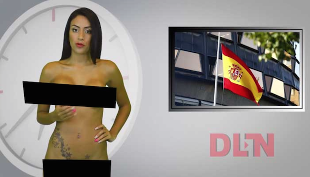 Usan a una presentadora desnuda para hablar de la independencia de Cataluña