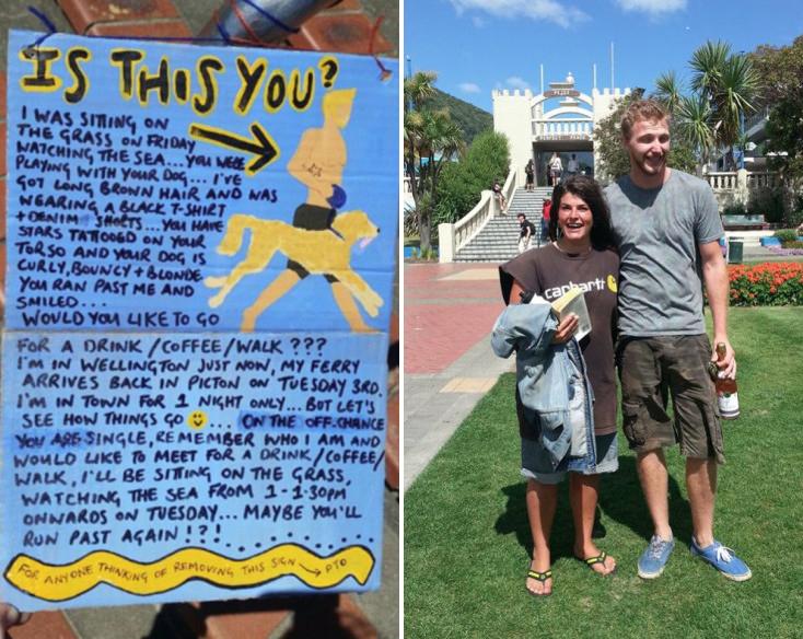 Puso un cartel para encontrar al chico que vio en la playa y el final fue... ¡así de romántico!