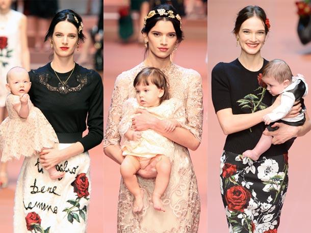 Modelos embarazadas y bebés desfilando: el homenaje de Dolce&Gabbana a la maternidad