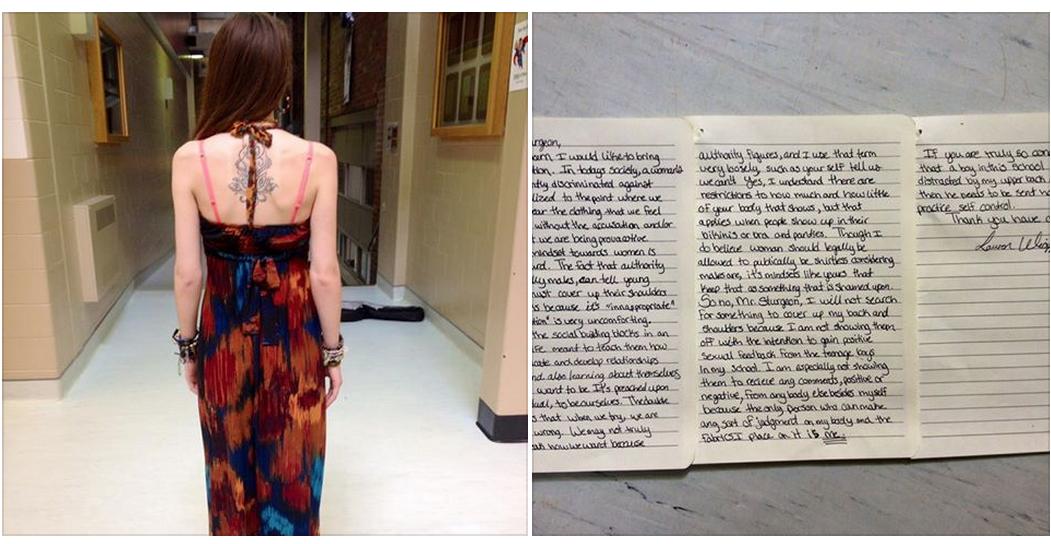 Su instituto le regañó por llevar un vestido 'inapropiado' y ella les contestó así