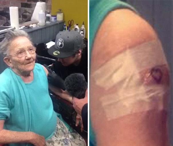 Esta abuela se escapó de su residencia para hacerse un tatuaje