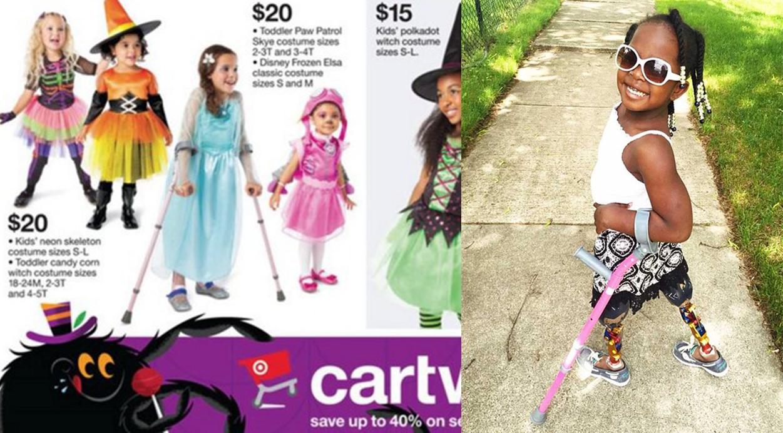 Incluyen a una niña con muletas en un catálogo de disfraces