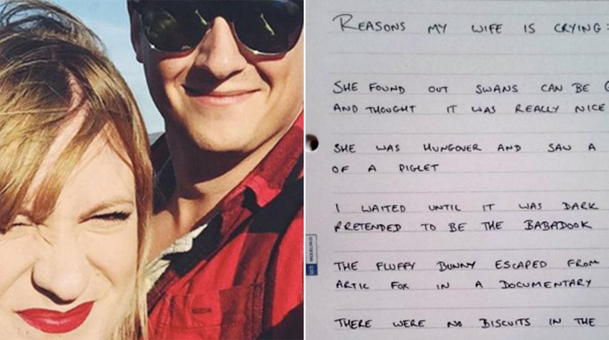 Publica una lista de las cosas que hacen llorar a su mujer e internet muere de ternura