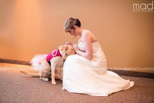 Esta novia llevo a su perra al altar para sentirse más tranquila