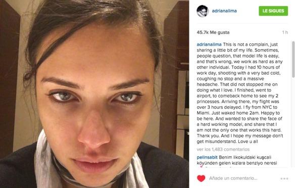 El post de Adriana Lima que explica lo que realmente significa ser modelo