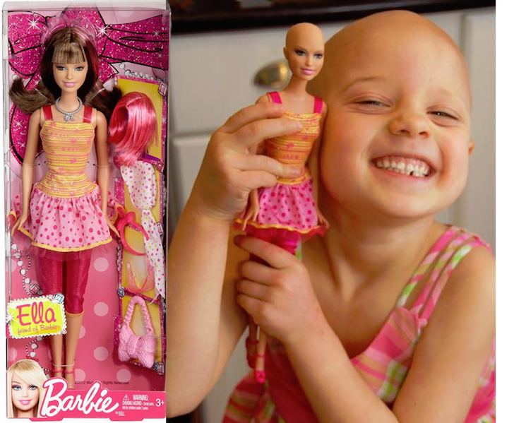 Tras superar el cáncer, esta niña pide a Mattel una Barbie calva