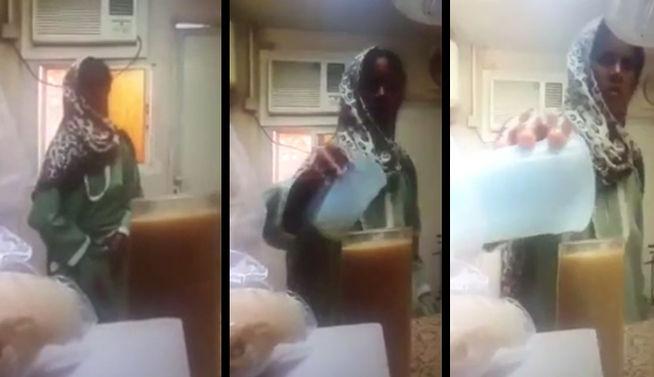 Mira cómo esta mujer fue pillada vertiendo orina en el zumo de su jefa