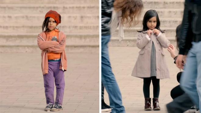 Todos ayudan a esta niña que está sola. Mira lo que ocurre cuando le cambian la ropa