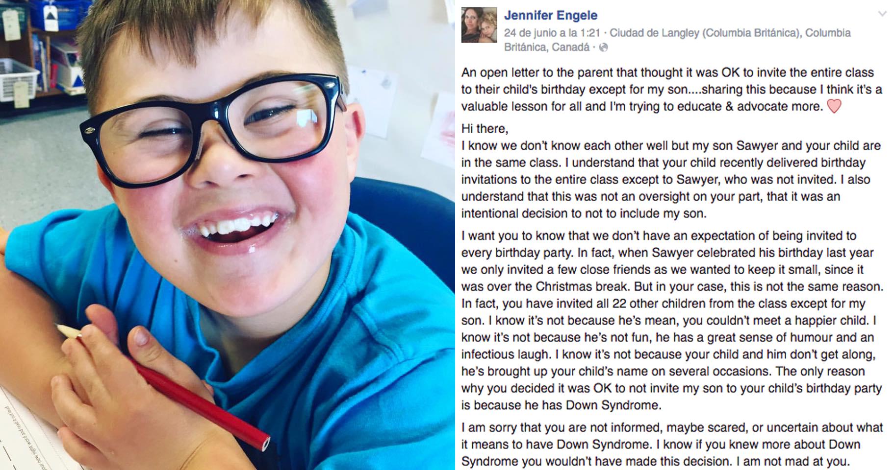 La demoledora carta de una madre al saber por qué su hijo no fue invitado a un cumpleaños