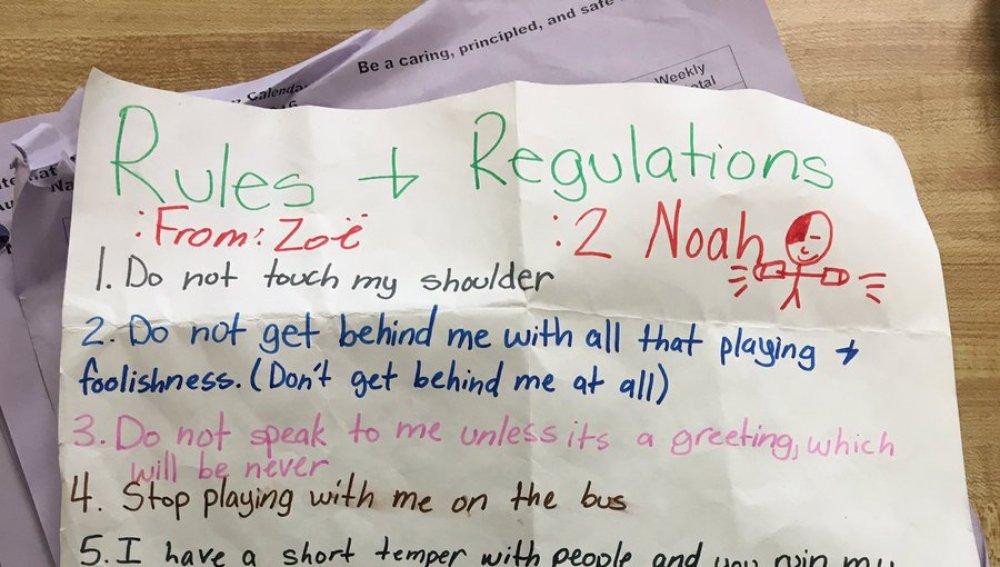 La ingeniosa carta de una niña de 11 años a un compañero que la acosaba