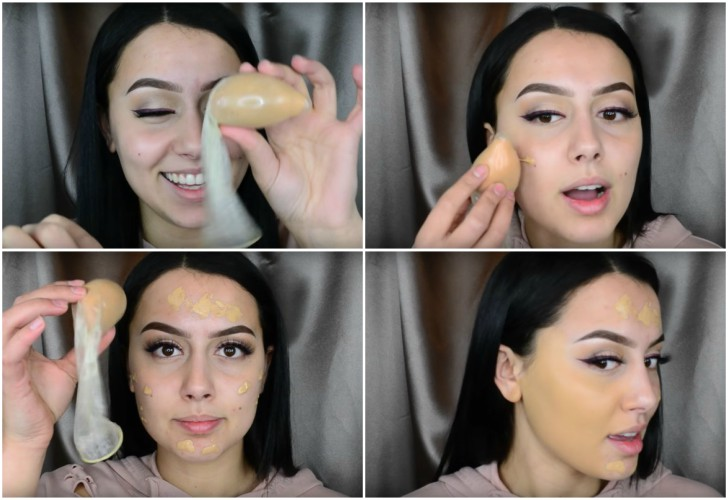 maquillaje con un condon