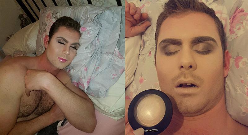 maquilla a su novio mientras duerme