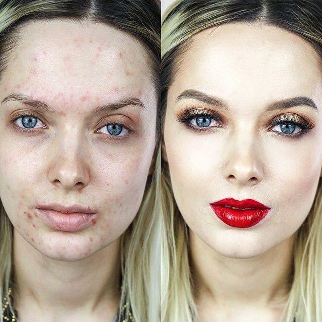 imagenes de mujeres antes y despues del maquillaje