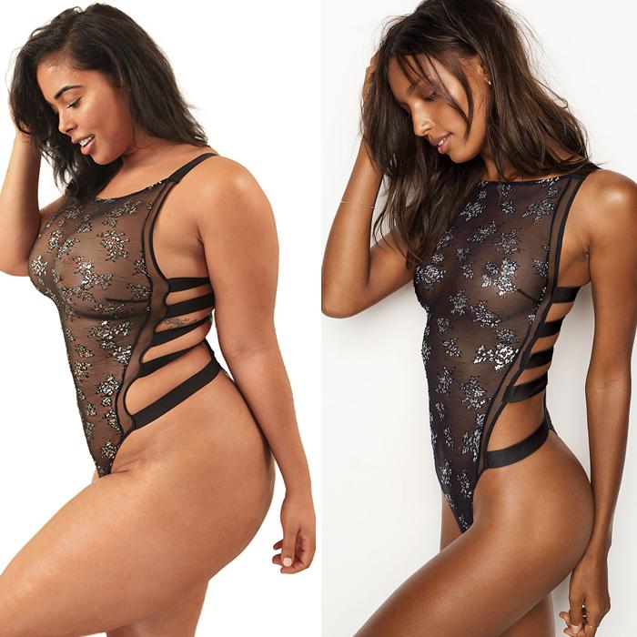 Modelo de tallas grandes posa con ropa de Victoria's Secret