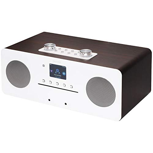 Denver MIR-260 - Reproductor de CD, DAB+ digital y WiFi Internet Radio – con radio FM, Bluetooth 5.0, AUX IN, pantalla a color de 2,4 pulgadas y mando a distancia, color nogal con blanco brillante