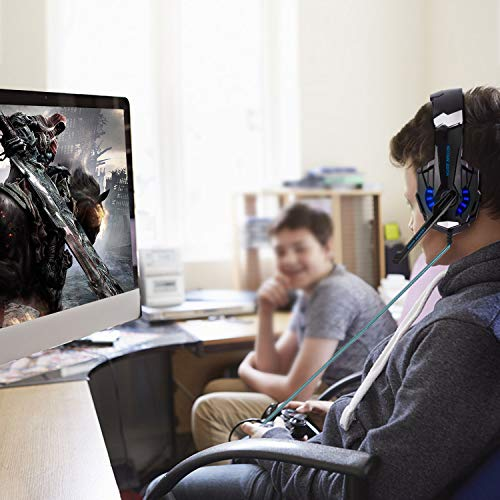 FUNINGEEK Auriculares Gaming PS4,Cascos Gaming de Mac Estéreo con Micrófono Cascos Gaming 3.5mm Jack con Luz LED Bass Surround y Cancelación de Ruido Auriculares Compatible con PC/Xbox One/Switch