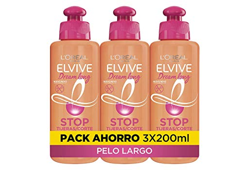 L'Oreal Paris Elvive Dream Long Crema Stop Tijeras, para cabellos dañados - pack de 3 unidades x 200 ml