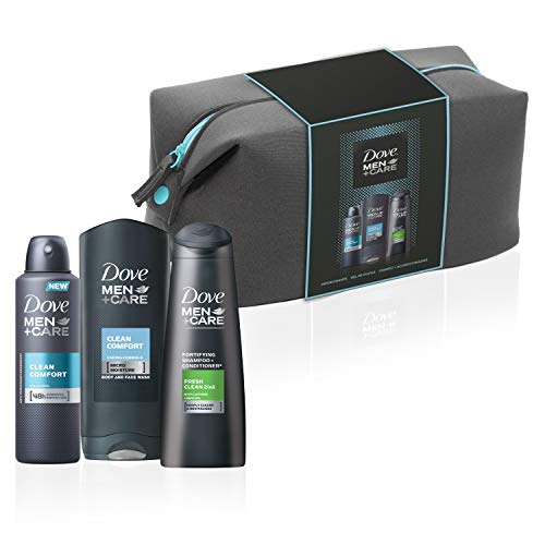 Neceser Dove Men - Gel Clen Comfort 400 ml + Desodorante Aerosol 250 ml + Champú y Acondicionador 2 en 1 250 ml