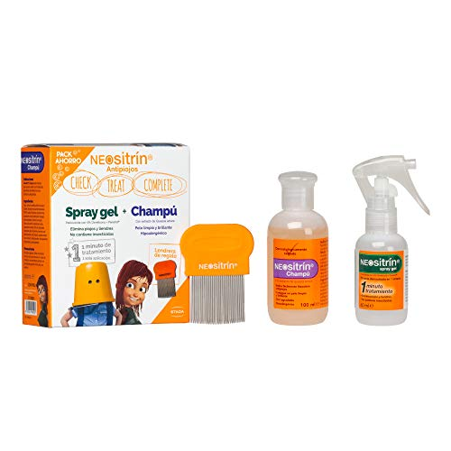 Neositrin Pack Champu (100ml) + Spray gel(60ml) para eliminar piojos y liendres en 1 minuto