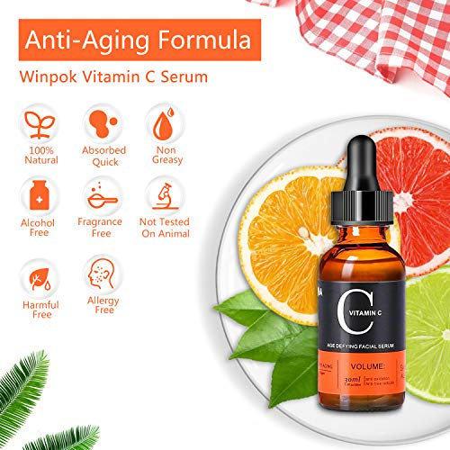 Sérum Facial con Vitamina C, Winpok Serum Facial Vitamina C y Acido Hialuronico, Natural & Orgánico, Efecto Antiarrugas, Antiedad y Antimanchas, Suero Anti edad Vegano para Rostro, Cuello y Escote