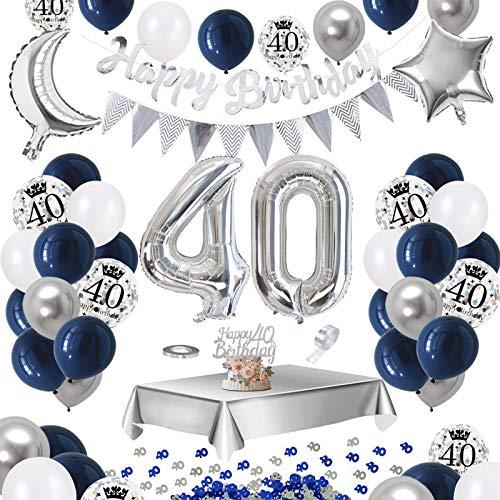 30 Confetti de Mesa Globos de Confeti Plateados Impresos APERIL Globos Cumplea/ños 30 A/ños Decoraciones de Cumplea/ños Azul Plata para hombres Mujer Pancarta Feliz Cumplea/ños Manteles Plateados