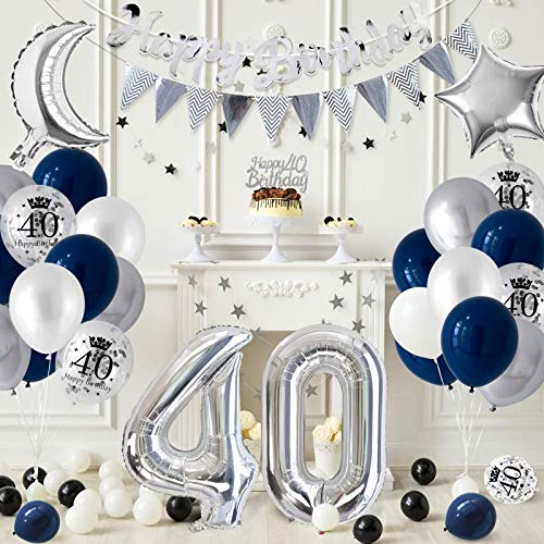 para hombres Mujer Manteles Plateados Pancarta Feliz Cumplea/ños 30 Confetti de Mesa APERIL Globos Cumplea/ños 30 A/ños Decoraciones de Cumplea/ños Azul Plata Globos de Confeti Plateados Impresos