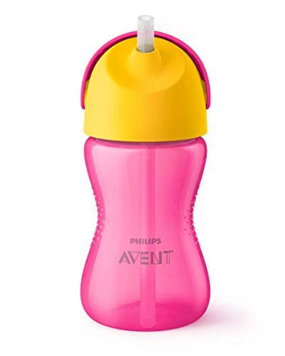 Philips Avent SCF798/02 - Vaso con pajita flexible, 300 ml, 12 m+, válvula antigoteo, piezas compatibles Philips Avent, color rosa