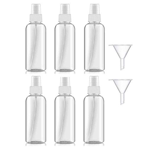 50ml Bote Spray Botellas Vacía De Plástico Transparentes Contenedor de Pulverizador, Bote Spray Pulverizador Transparente Set de Botella de Spray de Viaje-6 Piezas (50ml)