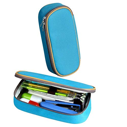 XCNGG Bolsa de papelería estuche estuche para lápices Um-Breon Badge Pen Bag Large Capacity Student Stationery Bag Pencil Case Dual Zippers