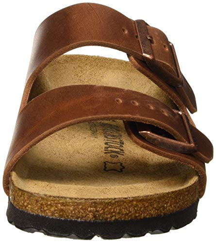 Birkenstock Sandales Arizona Cuir Gras Antique Brown, Sandalia Unisex Adulto, 36 EU Étroit