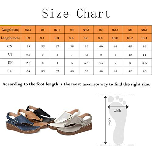 JSONA Sandals for Women Flat Sandals Beach Shoes Summer Comfort Platform Wedge PU Sandals with Arch Support for Outdoor Hiking/Daily Slip-On Sandal,Brass,39
