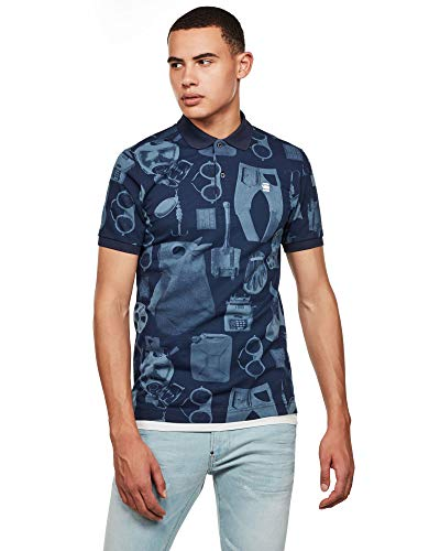 G-STAR RAW Dunda Materials Slim Camisa Polo, Avio Mono Objects C335/B643, X-Large Mens