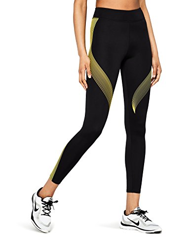 Marca Amazon - AURIQUE Bal181la18 - leggings deporte mujer Mujer, Negro (Black/golden Kiwi), 42, Label:L